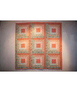 Peach and Green Log Cabin Wall Quilt - $185.00