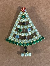 Estate Small Clear & Green Rhinestone Outline w Colorful Ornaments Chris... - $16.69