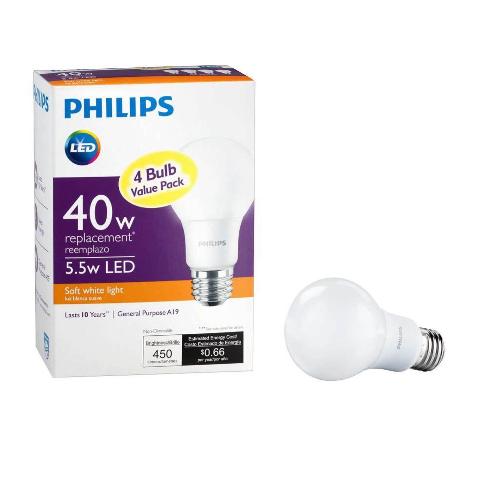 Philips 40W Equivalent Soft White A19 and 50 similar items
