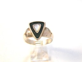 Vintage Sterling Silver Mother Of Pearl Turquoise Ring - €30,16 EUR