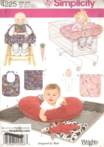 Baby Accessories Shop Cart Cover, Bibs, Pillow, Dolls Pattern Simplicity 4225 UC - $4.99