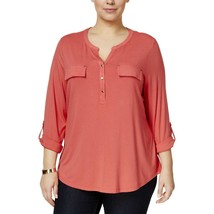 Charter Club NWT 3X Plus Coral Henley Faux Pockets Casual Top Shirt 0494 - $18.80