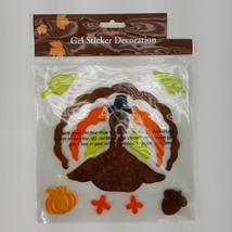 Turkey Thanksgiving Harvest Gel Window Cling Stickers Pumpkin Leaves Autumn - $180,20 MXN