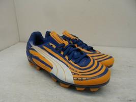 Puma Boy's Low EvoSpeed 5.2 FG Soccer Cleats Orange/Blue Size 2.5Y - $23.74