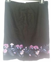 Ann Taylor Loft Skirt 2P Gray Floral Embroidered A Line Wool Blend Lined      A  - $8.71