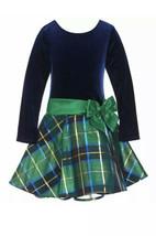 Bonnie Jean Navy Velvet Long Sleeve Christmas Dress Green Plaid Skirt Sz... - $23.75