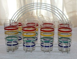 Vintage 1960's Colorful Striped Glass Set Of 8 Tumblers With Metal Caddy... - £86.81 GBP