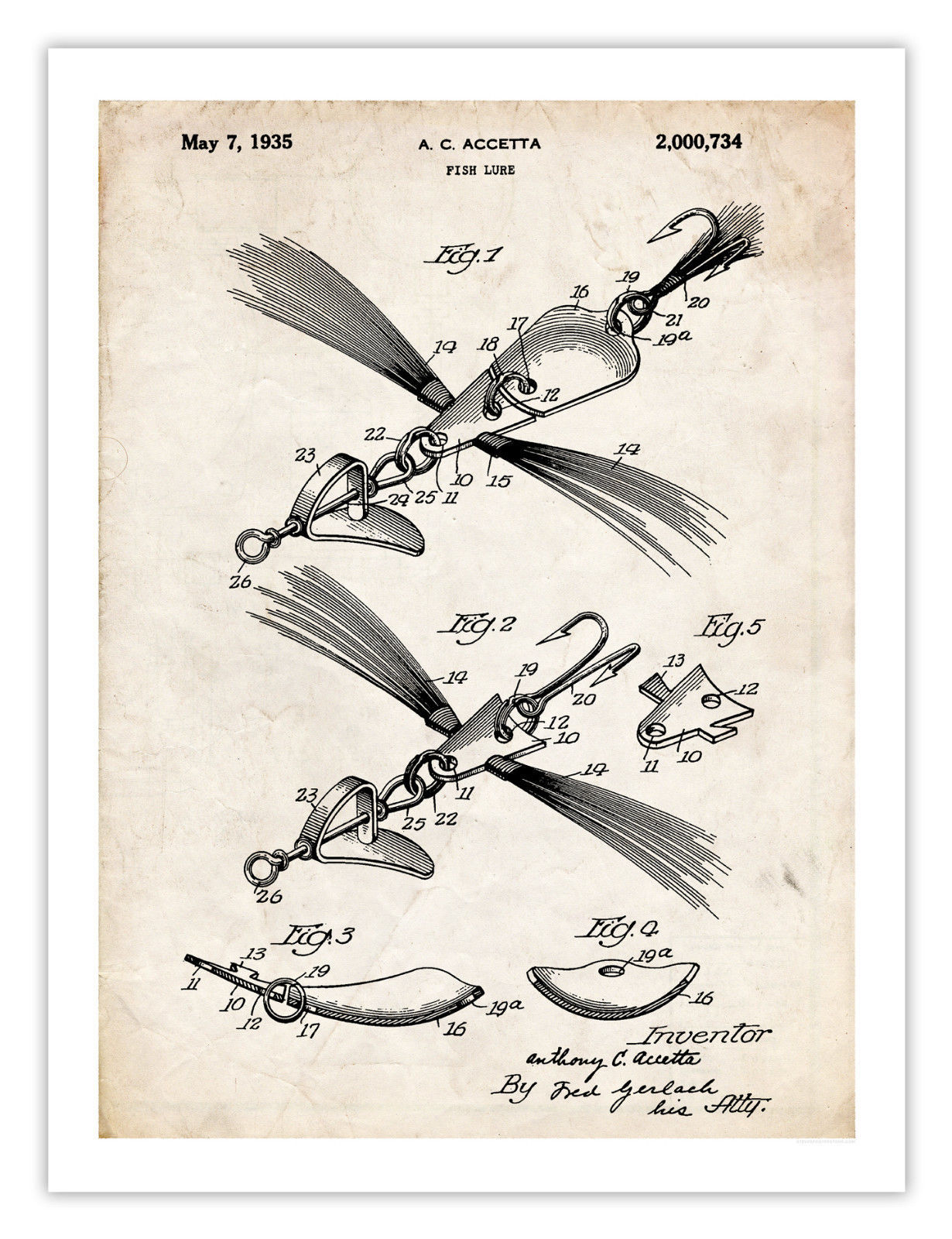 OLD FISHING LURE 1935 PATENT ART POSTER PRINT 18X24 VINTAGE FLY FISH ROD GIFT