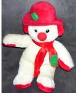 "Christmas SNOWMAN Holiday Plush  10 1/2"" TALL Kellytoy - $7.96"