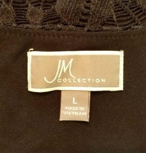 JM Collection women L blouse black floral lace long sleeve