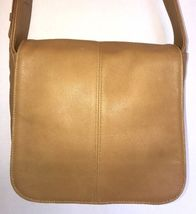 Vintage COACH 4173 Tan Leather FlatIron Shoulder Bag Handbag Purse Side ... - $65.95