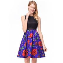 AOVEI Purple Floral Print Hit Color Black Vest Sweet Party Pleated Beach Dress - $24.99