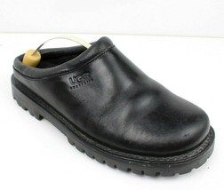 UGG 5320 Black Leather Sheepskin Fur Lined Slip On Low Back Clog Shoes Womens 8 - $33.64