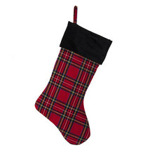 Darice Christmas Tartan Stocking: Black Cuff, 7.5 x 18 inches w - $14.99