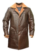 QASTAN Men's New Brown Natural Pure Sheepskin Long Trench Coat L SIZE QM... - $299.00