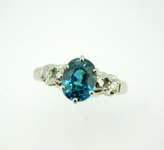 14k White Gold Large Teal Blue Genuine Natural Zircon and Diamond Ring (... - $1,200.00