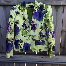 EVAN PICONE Black Label Womens Sz 6P Stretched Floral Career Blazer Jacket - $15.88
