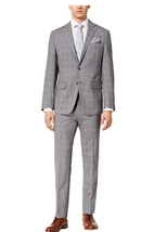 Tallia Men's Slim-Fit Gray/Blue Plaid Suit, 44R - $346.45