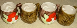 Set 4 Vintage Arnels Pottery Ceramic Mushroom Cup Mugs Retro Mid Century  - $5.62