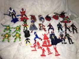 Mixed Super Hero Action Figure Lot Of 36 Marvel Ninjas Turtles Power Ran... - $19.79