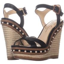 Jessica Simpson Aeralin Wedge Slingback Sandals 814, Black, 8 US - $35.51