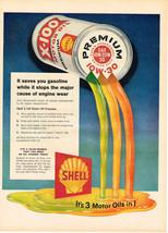 Vintage 1958 Magazine Ad Shell Motor Oil Saves You Gasoline & Stops Engine Wear - $5.93