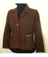 STUDIO WORKS Blazer Suit Coat size 4 P Petite Brown FAUX MICRO SUEDE JACKET - $15.83