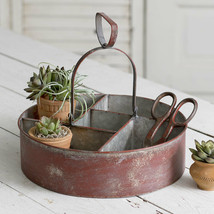 Farmhouse FIVE BIN ROUND STORAGE CADDY Country Rustic Primitive Divided ... - £41.53 GBP