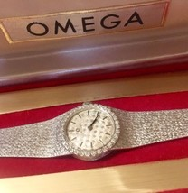 Just Serviced Omega Watch 14KT White Gold Diamond Halo Luxury Bracelet w/BoX - $3,040.00