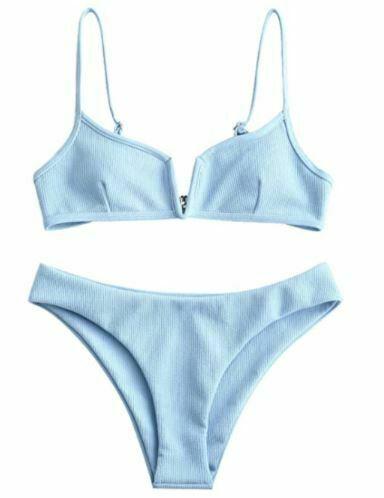 ZAFUL Women's V-Wire Padded Ribbed High Cut Cami Bikini Set 2 Piece Swimsuit -XL