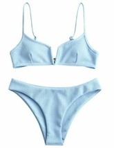 ZAFUL Women's V-Wire Padded Ribbed High Cut Cami Bikini Set 2 Piece Swimsuit -XL image 1