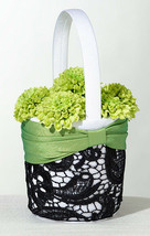 flower girl basket green & black flower basket wedding basket - $9.99