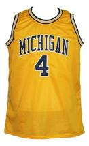 Chris Webber #4 Custom College Basketball Jersey New Sewn Yellow Any Size image 4