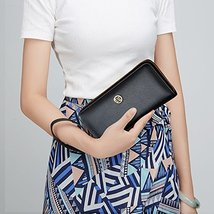 LAORENTOU Women's Genuine Leather Long Wallet Clutch Purse for Women Black image 3