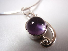 New Amethyst Curve Around Sphere Silver Pendant India - $11.54