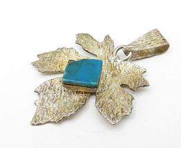 925 Sterling Silver - Vintage Turquoise Gold Tone Autumn Leaf Pendant - P6147 image 2