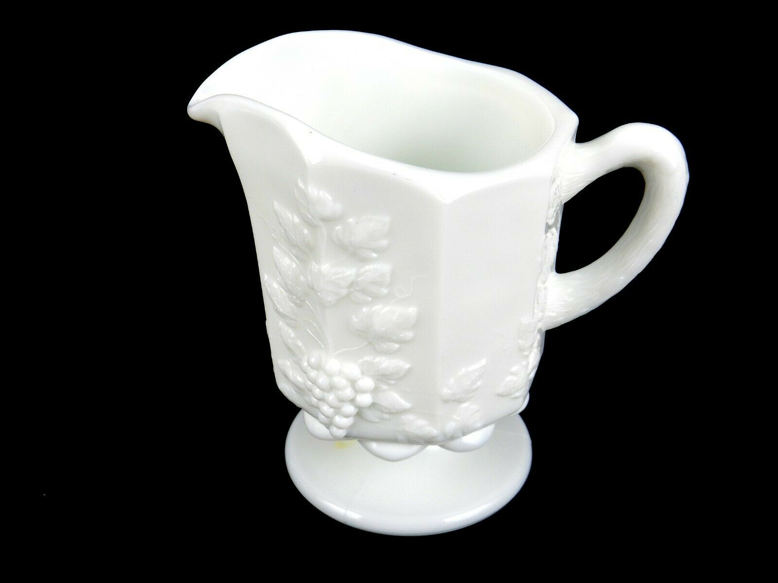 """5"""" Milk Glass Pitcher, Westmoreland Paneled Grapes Pattern, Cream, Syrup, Sauces - $14.65"""
