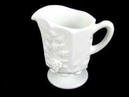 "5"" Milk Glass Pitcher, Westmoreland Paneled Grapes Pattern, Cream, Syrup... - $14.65"