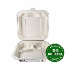 """HeloGreen Eco-Friendly 8""""x 8"""",3-Compartment Cornstarch Takeout Togo Hing... - $47.50"""