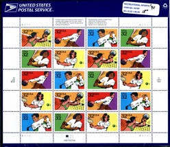 Sheet of 20 #2961-65 Recreational Sports 32 cent stamp 1995 USPS sealed - $8.00