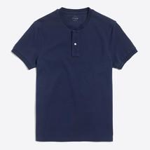 New J CREW Mens Large Casual Short Sleeve Pique Cotton Henley Shirt Navy... - $31.14
