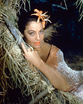 Ava Gardner 16x20 Canvas Giclee Flower in Hair Lying on Straw Bed - $69.99