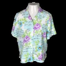 Alia Button Down Collared Shirt ~ Sz 14P ~ Blue & White ~ Short Sleeve ~... - $24.74