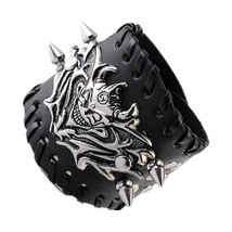 Gothic Biker Mens Silver Metal Skull Bracelet Black Wide Genuine Leather W - $22.06