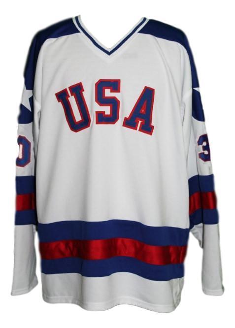 Jim craig  30 team usa miracle on ice hockey jersey white   1
