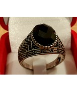 Giant Vintage Silver Ring Natural Onyx Gemstone  - $85.44