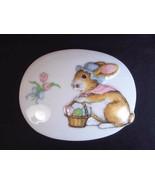 Oval porcelain trinket keepsake box 3D bunny Easter bonnet basket eggs J... - $10.08