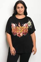 Ladies fashion plus size boyfriend fit graphic print t-shirt with a rounded neck - $19.00