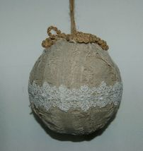 Sage Company XAO13688TA Silvered Torn Linen Ball Ornament 7 inches image 3