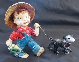 Kreiss 1956 FISHING BOY WALKING DOG ON LEASH w 2 Fish Figure Porcelain V... - $79.46